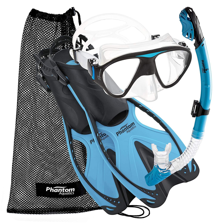 Phantom Aquatics Adult Mask Fin Snorkel Set with Mesh Bag, Aqua, Small:Medium