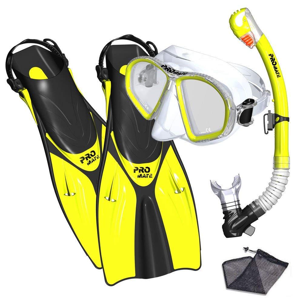 Promate snorkel set snorkeling fins mask and dry snorkel gear bag set for adult youth snorkeling set